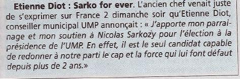 Etienne DIOT soutient Nicolas Sarkozy UMP Compiègne