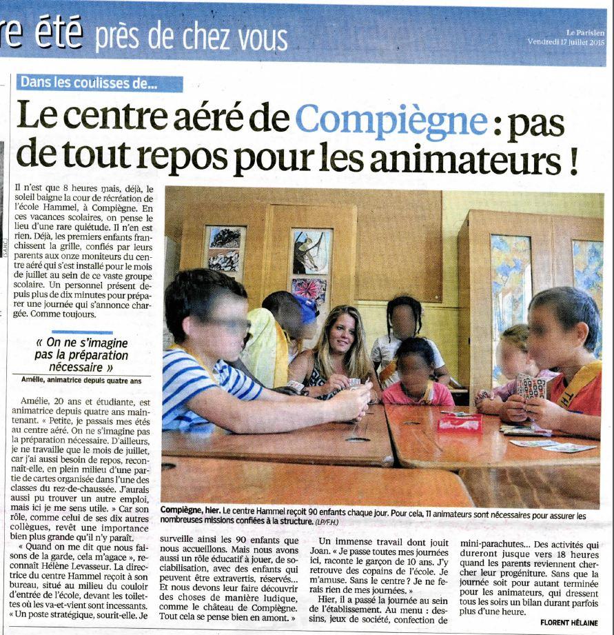 Le Parisien centres aérés animateurs 17072015