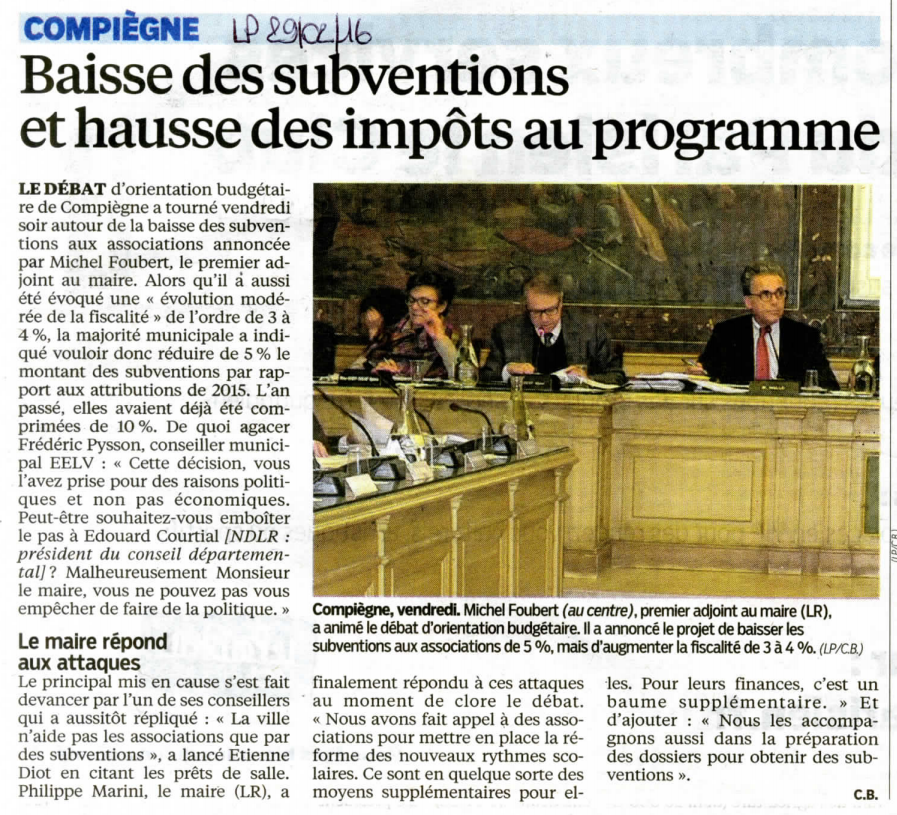 Le Parisien Conseil municipal de Compiègne 29022016