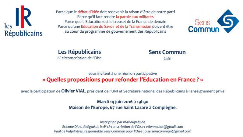 Inivtation débat Education 14 juin Compiègne